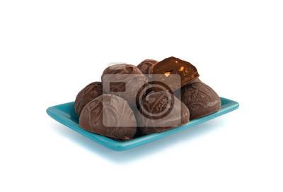 Cukierki czekoladowe na talerzu