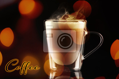 Cup of hot and aromatic coffee on bokeh background