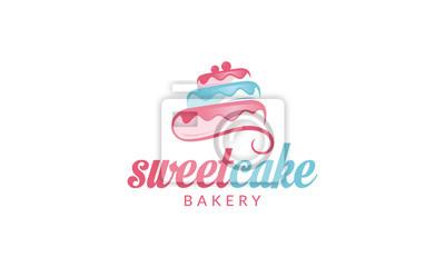 Fototapeta Cupcake Logo, Sweet Cake Logo, Cake Shop Logo, Cake Bakery Logo, vector logo template