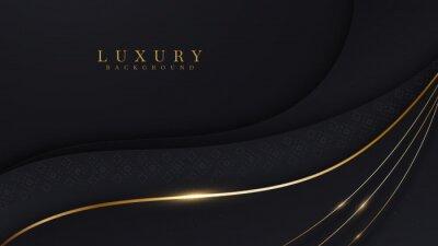 Fototapeta Curve golden line on black shade background. Luxury realistic concept. 3d paper cut style. Vector illustration for design.