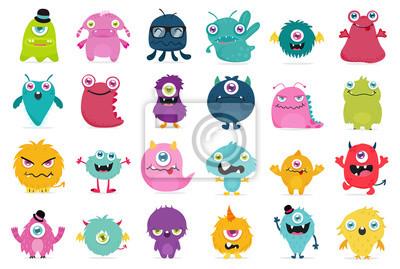 Fototapeta Cute and Kawaii monster kids icon set.