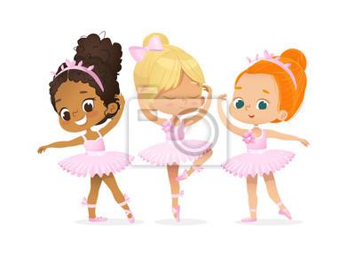 Fototapeta Cute Ballerina Girl Dancer Character Training Set