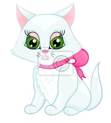 cute biały kotek z różową kokardą na szyi