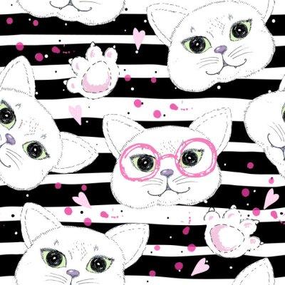 Fototapeta Cute cats bezszwowe tło wzór