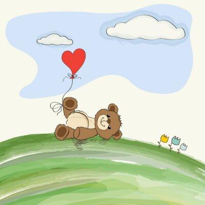 Fototapeta Cute doodle miś z sercem na łące