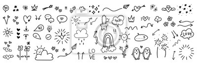 Fototapeta cute hand drawn doodle vector set, love, Natural , firework, cloud, weather, rainbow, snow, heart and creative design vector collection.