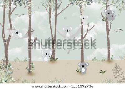 Fototapeta Cute koalas playing in the jungle