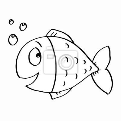 Fototapeta Cute Kolorowanki Ryb Na Wymiar Czarny Sztuka Rozowy