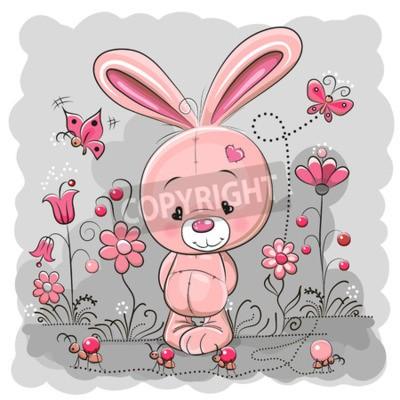 Fototapeta Cute Królik Cartoon na łące z kwiatów i motyli