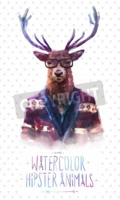 Fototapeta Cute mody Hipster Zwierzęta i zwierzęta domowe sarny, zestaw ikon wektorowych ponosi portret. ilustracji wektorowych