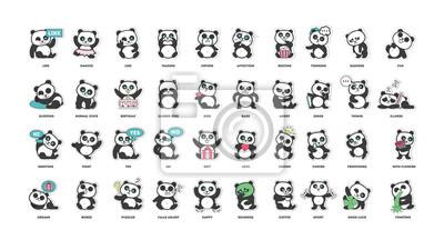 Fototapeta Cute panda, kolekcja nalepek, w różnych pozach, różne nastroje ilustracji wektorowych