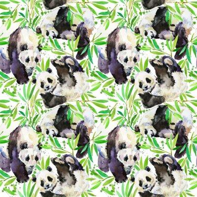 Fototapeta cute Panda seamless pattern. wild animal hand draw watercolor illustration