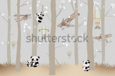 Fototapeta cute pandas playing in the forest wallpaper