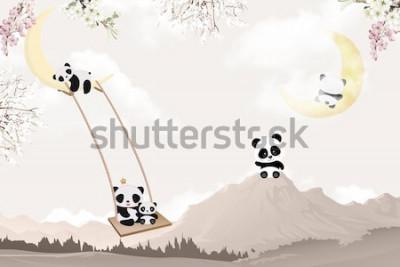 Fototapeta cute pandas playing kids room wallpaper design