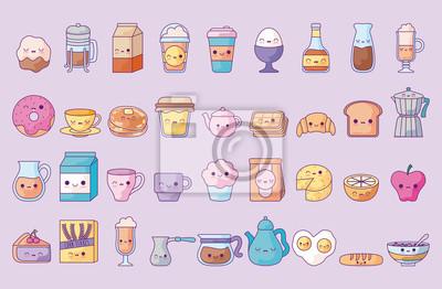 Fototapeta cute set icons style kawaii