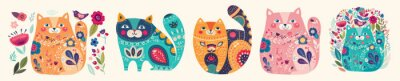 Cute spring collection with cats. Decorative abstract horizontal banner with colorful cats. Hand-drawn modern illustrations with cats and flowers