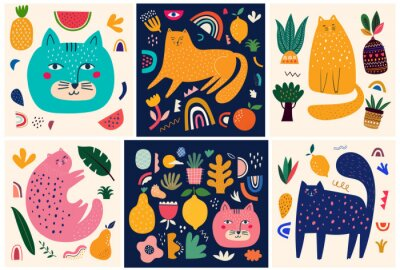 Fototapeta Cute spring collection with cats. Decorative abstract posters with colorful cats. Hand-drawn modern illustrations with cats and flowers. Set of art posters and cards