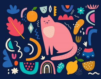 Cute spring pattern collection with cat. Decorative abstract horizontal banner with colorful doodles. Hand-drawn modern illustrations with cats, flowers, abstract elements. Abstract series