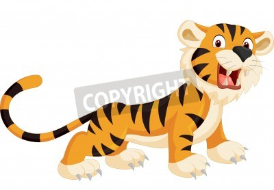 Fototapeta Cute Tygrys cartoon ryk