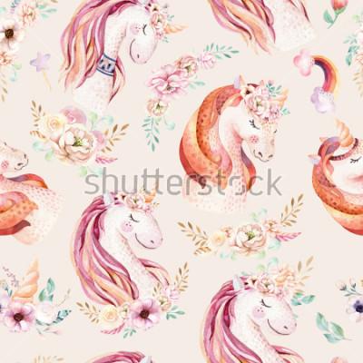 Fototapeta Cute watercolor unicorn seamless pattern with flowers. Nursery magical unicorn patterns. Princess rainbow texture. Trendy pink cartoon pony horse.