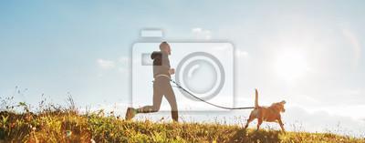 Fototapeta Ćwiczenia Canicross. Mężczyzna biegnie ze swoim psem beagle w słoneczny poranek. Pojęcie zdrowego stylu życia.