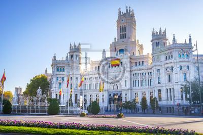 Fototapeta Cybele Palace (Palacio de Cibeles) and Cibeles fountain in Madrid.