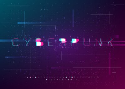 Fototapeta Cyber vector font design with glitch effect. Distorted futuristic English letters, numbers, symbols in cyberpunk style. Glitch digital style alphabet. Design for cybersport events, web.