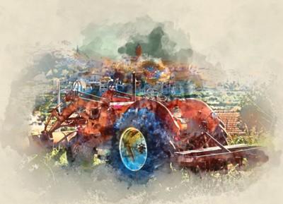 Fototapeta Cyfrowe malowanie akwareli starego ciągnika na tle wsi. Wieś Polop de la Marina w Hiszpanii