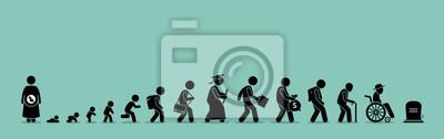 Fototapeta Cykl życia i proces starzenia. Osoba dorastania od niemowlęcia do starości.