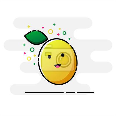 Cytryna, owoce Zabawna postać z kreskówek. Styl MBE. Ikona płaska.