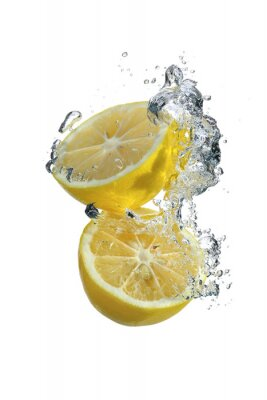 Fototapeta Cytryny i krople wody