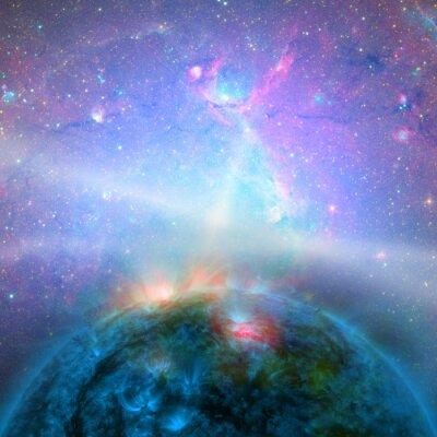 Fototapeta Czarna dziura z gwiezdnej chaosu wokół niego.