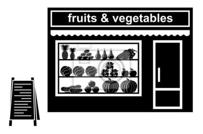 Czarna ikona sklepu owoców