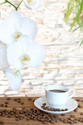Fototapeta Czarna kawa i orchidea