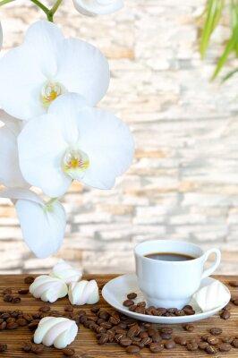 Fototapeta Czarna kawa i ptasie mleczko