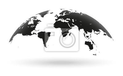 Fototapeta Czarna mapa świata globu samodzielnie na białym tle