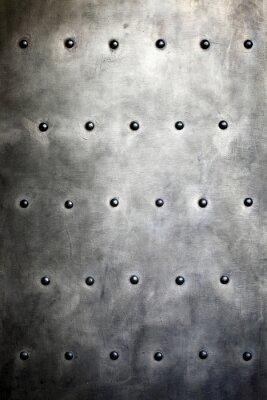 Fototapeta Czarna metalowa płytka lub tekstury zbroi nitami