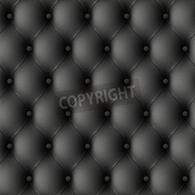 Fototapeta Czarna skórzana tapicerka. Bez szwu ilustracji.