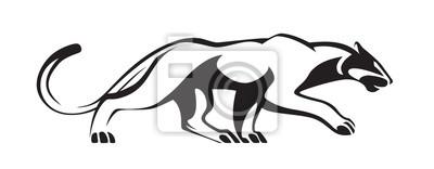 Fototapeta Czarna stylizowana sylwetka pantery. Wektorowa żbik ilustracja. Zwierzę odizolowywający na białym tle jako logo, maskotka lub tatuaż