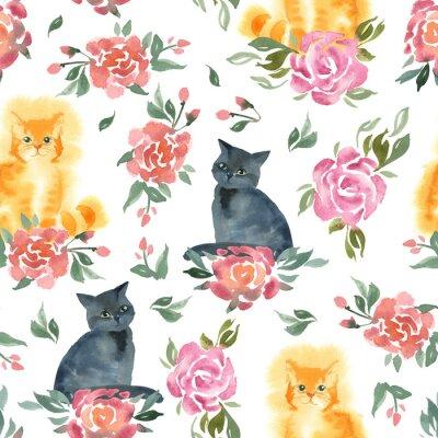Fototapeta Czarne i imbirowe puszyste koty siedzą z kwiatami róży i zielonymi liśćmi.