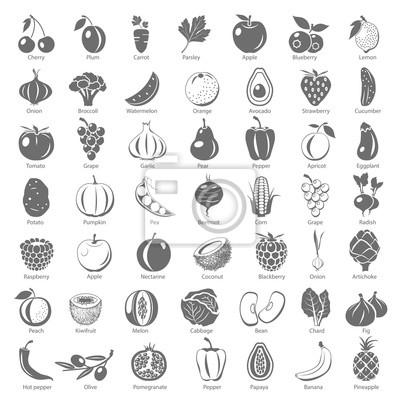 Fototapeta Czarne Ikony - Owoce i warzywa