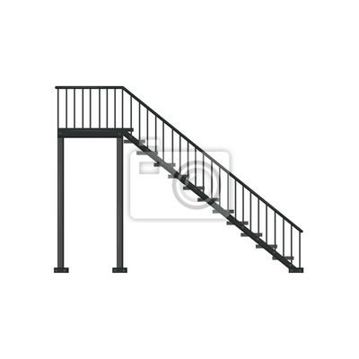 Fototapeta Czarne żelazne schody z poręczą. Konstrukcja architektoniczna. Element płaski wektor budynku wnętrza lub na zewnątrz. Widok z boku