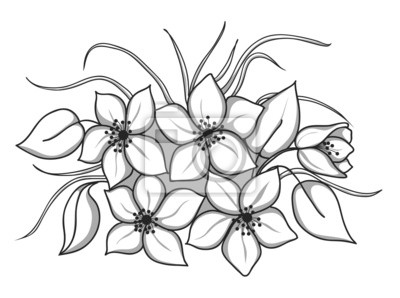 czarno-biały bukiet kwiatów z liści i trawy
