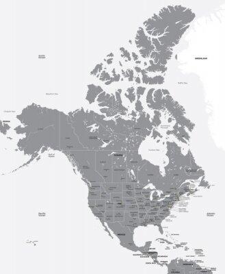 Fototapeta Czarno-biały mapa USA i Kanadzie