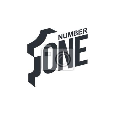 Fototapeta Czarno-biały o przekątnej numer jeden szablon logo, ilustracji wektorowych na białym tle. Graficzne logo z ukośną logo z trójwymiarowej numer jeden