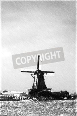 Fototapeta Czarno-biały szkic szkice rozpoznawalnych miejsc w Europie. Tradycyjne holenderskie wiatraki