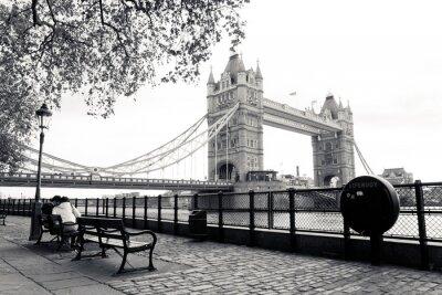 Fototapeta Czarno-biały widok na Tower Bridge