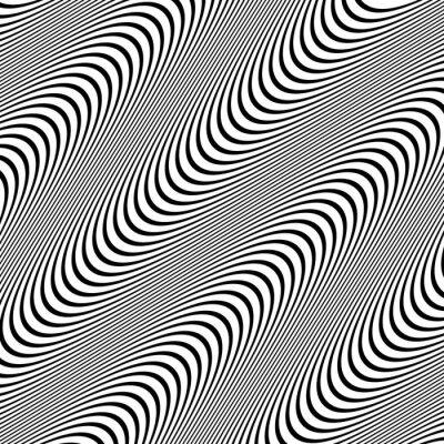 Fototapeta Czarno-biały wzór z faliste linie.