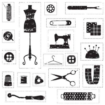 Czarny podrapał szycia i krawiectwo związanych symboli