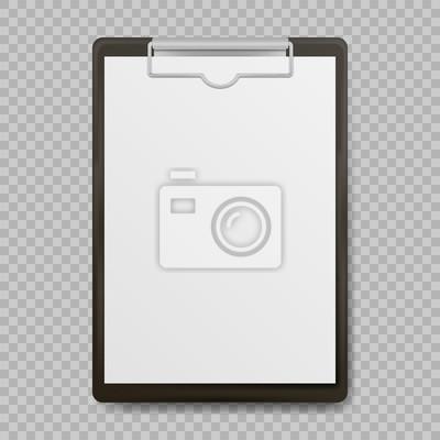 Fototapeta Czarny schowka z pustą białą kartkę dołączone do przezroczystego tła. Ilustracji wektorowych.